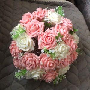 "New Pink and White Wedding Bouquet 10"" silk"